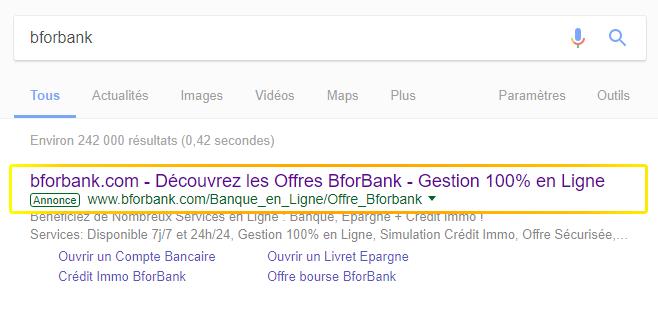 BforBank utilise Google Adwords pour capter du trafic sur ces pages de ventes en testing A/B
