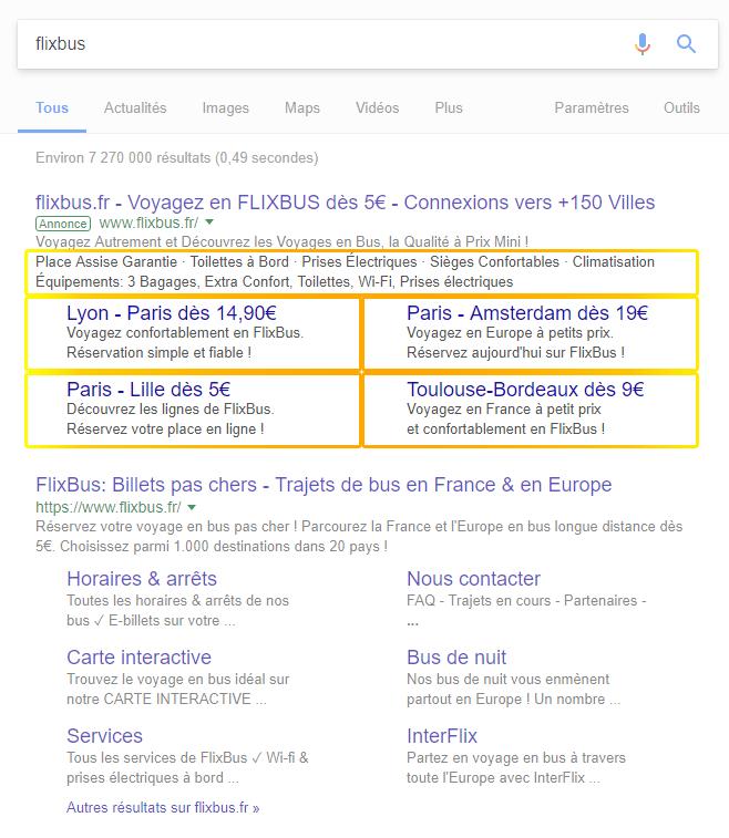 FlixBus utilise les extensions disponibles dans Google Adwords pour mettre en avant ses offres et les rendre visibles